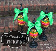 Apothecary jars for St Patricks Day