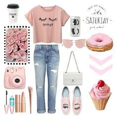Pink Pastel 💗💕 by myllenamorenaguerra on Polyvore featuring polyvore, fashion, style, Current/Elliott, Chiara Ferragni, Chanel, So.Ya, Maybelline, Miss Étoile, Fujifilm and clothing