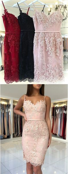 spaghetti straps pink lace bodycon cocktail party dresses, simple tight short homecoming dress for teens #pink #lace #homecoming
