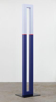 "ART HuNTER — Lisa Williamson [USA] (b 1977) ~ ""Parallel Seam"", 2015. Acrylic on wood and steel base with black acid and wax finish (246.5 × 33 × 9 cm)."