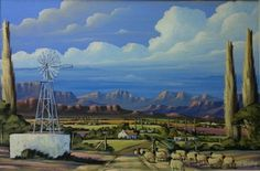 Painting by At Botha - scene of a farm Building Painting, Upcoming Artists, South African Artists, Country Art, Windmills, Map Art, Landscape Art, Love Art, Photo Art
