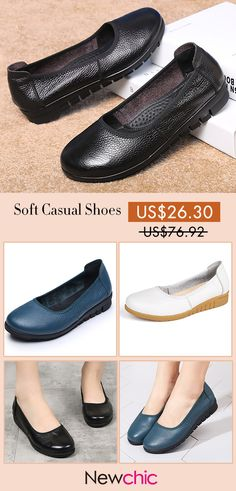 28904550bf9ea  66% off  SOCOFY Casual Pure Black Slip On Leather Soft Flat Shoes.