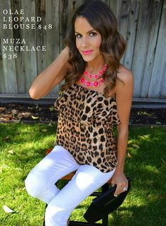 Leopard top  & pink necklace
