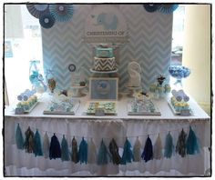 This could be an adorable first birthday or baby shower! Chevron and Blue Elephant Baptism Party Ideas Christening Party, Baptism Party, Baby Party, Baby Shower Parties, Baby Shower Themes, Baby Shower Decorations, Baptism Ideas, Baby Boy Christening Decorations, Elephant Decorations