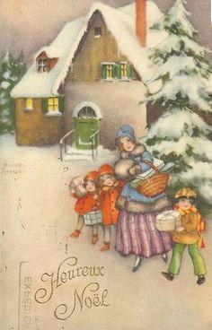 Vintage Hannes Petersen Christmas Card ~ Orange Accents