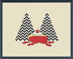 Twin Peaks modern cross stitch pattern instant by CaractacusCrane on Etsy. Instant download pdf file pattern. You have to supply your own cherry pie....