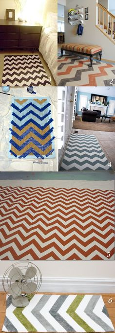 Make a DIY Chevron rugs out of a cheap plain rug or even leftover scrap linoleum. Make out of left over pieces of linoleum by flipping over to the backside, painting, and sealing with several coats of polyurethane.