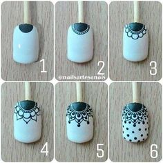Make up secrets / Make-up Tutorials / Makeup ideas Nail Art Hacks, Nail Art Diy, Diy Nails, Manicure, Trendy Nail Art, Lace Nail Art, Lace Nails, Flower Nails, Indian Nails
