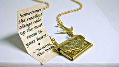 Friendship Necklace Envelope Necklace Winnie the Pooh Quote Necklace Bird Necklace Secret Message Necklace Locket Necklace