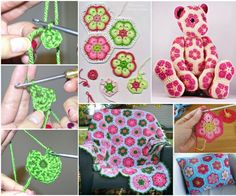Free Crochet Tutorial--African Flower motif--it is a versatile motif that can be used to make stuffed animals, blankets etc. Crochet Square Patterns, Crochet Animal Patterns, Crochet Squares, Amigurumi Patterns, Crochet Motif, Crochet Flowers, Granny Squares, Crochet Crafts, Crochet Dolls