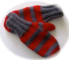 Child's Mittens Hand Knit Charcoal Gray and Red by lastrose, $6.50