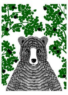 Mr Bear in forest, by Anna Ahmarova