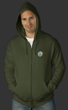 Cannabuds™ Dark Army Green Mens Zip Hoodies. Click the above picture of our model sporting the registered Logo Badge and Service Trademark of the Medical Marijuana Initiative of North America - International to be hyperlinked to a landing page where you may purchase this item.