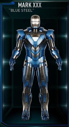 Blue Steel was the thirtieth Iron Man suit created by Tony Stark, and one of the many armors he developed after the battle for New York against Loki and the Chitauri. The attack had left him with the feeling that the world couldn't be safe for long, and that he needed to build more suits until the next time Earth was in danger. The Blue Steel suit was among those summoned by Stark to battle Extremis-enhanced soldiers assisting Aldrich Killian's plot. It was controlled at the time by...