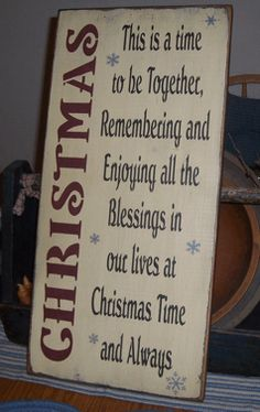 CHRISTMAS SAYING PRIMITIVE CHRISTMAS SIGN SIGNS