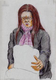 ピンクのマフラーのお姉さん(通勤電車でスケッチ)This is a woman of sketch wearing a pink muffler. I drew in a commuter train.