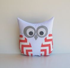 coral owl pillow chevron coral white grey zig zag decorative pillow, nursery, child's room, dorm room decor MADE TO ORDER
