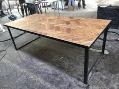 Reclaimed Solid Oak Parquet Industrial Chic Seater Dining Table - Cafe Restaurant Furniture Steel Wood Metal Made to Measure 523 8 Seater Dining Table, Outdoor Tables, Outdoor Decor, Handmade Table, Restaurant Furniture, Picture On Wood, Cafe Restaurant, Industrial Chic, Wood And Metal