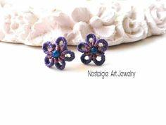 Macrame Earrings,  Macrame Flower Earrings,  Purple Flower  Earrings  , Romantic  Earrings,  Earrings  for  present