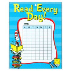 Dr. Seuss Cat In The Hat Read Chore Charts with Stickers 25 Pack $3.59