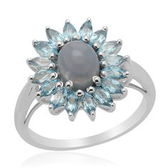 Sz 8 - Genuine Oregon Blue Opal & Blue Topaz Ring is going up for auction at  9pm Thu, Apr 11 with a starting bid of $14.