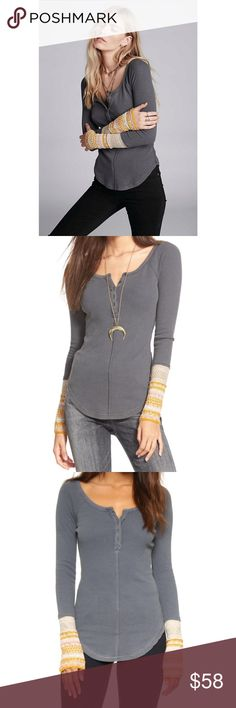 Free People Newbie Thermal Ski Lodge Sweater Cuff In excellent condition, tiny mark on the back. Size L Free People Tops
