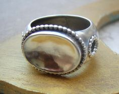 Sterling Silver and 14k Gold Ring Signet Ring by TevalouJewelry
