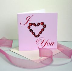I Heart You Valentines Card or Anniversary by TheBotanicalConcept, $4.00