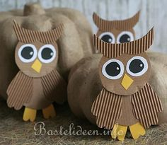 Paper Owl Craft for Kids (in German) Owl Crafts, Frame Crafts, Diy And Crafts, Arts And Crafts, Paper Crafts, Diy For Kids, Crafts For Kids, Owl Pet, Paper Owls