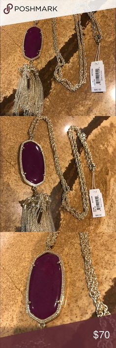 Kendra Scott Rayne Necklace Purple Jade Stone - Never Worn Kendra Scott Jewelry Necklaces