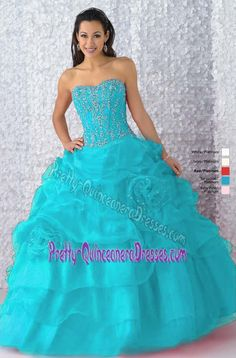 Dashing Beaded Sweetheart Dress for Sweet 16 with Pick-ups and Flowers in Organza