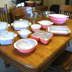 An overall picture of some of my vintage pink Pyrex and Corning ware.