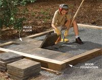 instead of a concrete slab-- genius! And great drainage. Great idea for garden shed or even the chicken coop. Wouldnt have to worry about foxes digging in to the coop and it would be cheaper than concrete and easier to clean than a plywood floor.