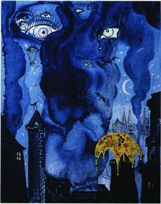 """Salvador Dali """"The Sandman"""", 1966 Value is used to create a difference in the """"drippyness"""" that appears to be flowing in shades of blue down the picture where its rests on top of a city. Bright, white eyes shine through the drips."""