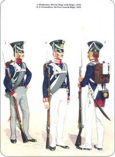 Prussian Line Infantry 1792-1815 1-Musketeer 8th Infantry Regt 1815 2-3 Grenadiers 1st Foot Guards Regt 1815