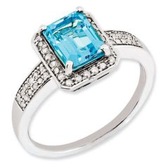 Emerald Cut Blue Topaz Diamond Sterling Silver Ring Available Exclusively at Gemologica.com