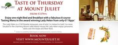 A luxury hotel in Kilkenny, the Mount Juliet Estate hotel comprises of 32 bedrooms in the Georgian Manor house and 93 bedrooms in Hunter's Yard. Tasting Menu, Casual Dinner, Prosecco, 5 Star Hotels, Bed And Breakfast, Hunters, First Night, Wine Recipes, Thursday
