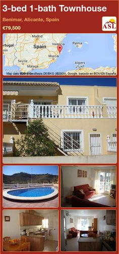 Townhouse for Sale in Benimar, Alicante, Spain with 3 bedrooms, 1 bathroom - A Spanish Life Murcia, Valencia, Portugal, Alicante Spain, Double Bedroom, Kitchen Styling, Townhouse, Terrace, Stairs