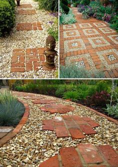 Backyard Garden Stone Put great red bricks over a gravel path. Lay a Stepping Stones and Path Combo to Update Your Landscape.Backyard Garden Stone Put great red bricks over a gravel path. Lay a Stepping Stones and Path Combo to Update Your Landscape Gravel Garden, Garden Paths, Garden Stones, Garden Art, Walkway Garden, Brick Garden, Garden Kids, Garden Drawing, Design Jardin