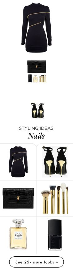 """Untitled #520"" by mallika-chawla on Polyvore featuring Agent Provocateur, Balmain, Alexander McQueen, NARS Cosmetics, Chanel and tarte"