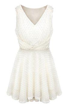 White V Neck Sleeveless Ruffles Pleated Dress - Sheinside.com