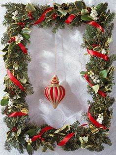 Holly and Berry Wreath  Display collectible ornaments on a narrow frame. Clip 3-inch-long pieces of various evergreens and wire them together in bunches of three. Wire the bunches to a purchased frame until it is covered. Add holly leaves and berries and artificial snowberries, wiring and gluing them in place. Wrap the wreath with loose loops of satin ribbon and hang the ornaments onto the wreath.