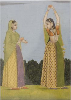 Antique Mughal painting of two women. Ancient Indian Art, Indian Folk Art, Indian Artist, Mughal Paintings, Tanjore Painting, Indian Traditional Paintings, India Painting, Lord Krishna Images, Miniature Paintings