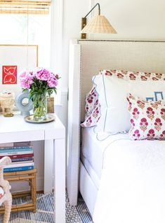 bed / rug / sconce / desk / linens