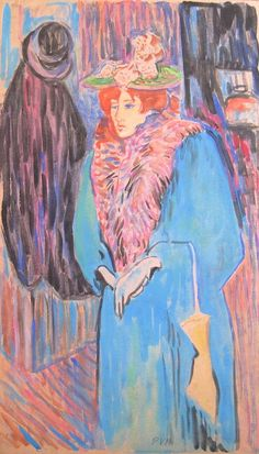 "Pablo Felipe Villegas Mañé ""Dama de azul"" Homenaje a Henry Toulouse Lautrec  Témpera sobre cartón  48 x 27 cm. Año 1981   http://www.portondesanpedro.com/ver-producto.php?id=11814"