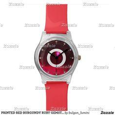 PRINTED RED BURGUNDY RUBY GEMSTONE MONOGRAM WRISTWATCH #gemstones #fashion #watch #accessory #gems #3d #geek #tech #jewel