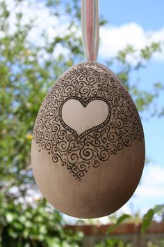 Ceramic Easter Egg with Filigree & Heart by CherryPieLane on Etsy, £30.00