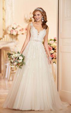 6291 A-line Wedding Dress with Plunging Neckline by Stella York