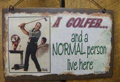 A GOLFER and a Normal Person Live Here GOLF by blackwatertradingco, $5.95 dad gift