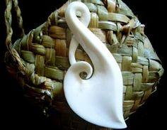 Maori Bone Carving Pendant - Twist Koru, NZD$25.00
